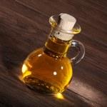 Oil in a glass bottle — Stock Photo