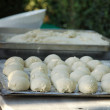 Dough on iron tray — Stock Photo