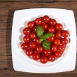 Tomatoes in a white plate — Stock Photo