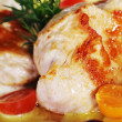 Roast chicken with vegetables — Stockfoto