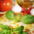Pizza with tomatoes and oil — Stock Photo