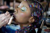 African girl lipstick — Stock Photo