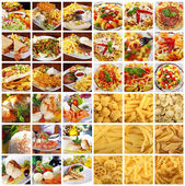 Collage with different dishes and pasta — Stock Photo