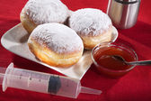 Donuts on a plate with jam — Stock fotografie
