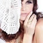 Brunette girl in white shawl — Stock Photo