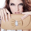 Brunette girl with a handbag — Stock Photo