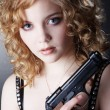 Stock Photo: Girl with gun