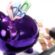 Piggy bank with euro — Stok fotoğraf