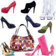 Handbags and shoes on a white background — Stock Photo