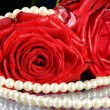 Foto Stock: Rose with necklace