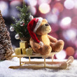 Christmas Bear in Sleigh — Stock Photo