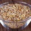 Wheat grain in a glass dish — Stock Photo