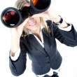 Blonde girl looking through binoculars — Stock Photo