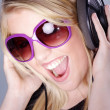 Blond girl with headphones — Stock Photo #28517683