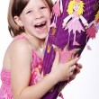 Young girl with gift — Stock Photo