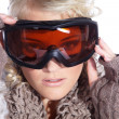 Woman in ski goggles isolated — Stock Photo