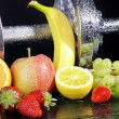 Dumbbell with fruit — Stock Photo