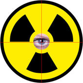 Nuclear sign with eye — Stock Photo