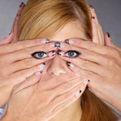 Girl with hands on face — Stock Photo