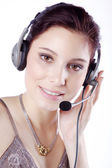 Smiling attractive woman with headphone — Stock Photo