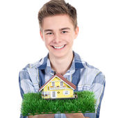 People with home model — Stock Photo