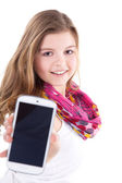 Blonde girl with a smartphone — Stock Photo