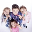 Group of children brushing their teeth — Stock Photo