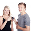 Young couple drinking water — Stock Photo