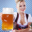 Young sexy woman wearing a dirndl with beer mug — Stock Photo #28523781