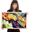 Girl with the picture of fruits — Stock Photo