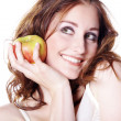 Brunette girl with apple — Stock Photo