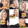 Woman with hamburger — Stockfoto