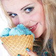 Woman with ice-cream — Stock Photo