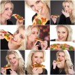 Young blond woman with pizza — Stock Photo #28524581