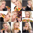 Stock Photo: Young blond womwith pizza
