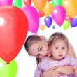 Two sisters with balloons — Stock Photo