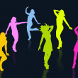 Dancing girl silhouettes — Stock Photo #28524999