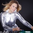 Woman with dj equipment — Stock Photo