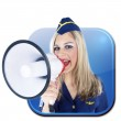 Stewardess With A Megaphone Icon — Stock Photo