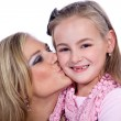 Stock Photo: Mom kissing daughter