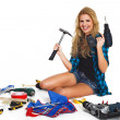 Stock Photo: Blonde girl with construction tools