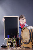 Woman with wine and a board — Stock Photo