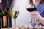 Brunette girl tasting wine — Stock Photo