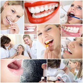 Collage of girl at the dentist — Stock Photo