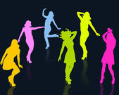 Dancing girl silhouettes — Stock Photo