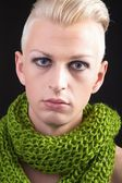 Blond boy in the green scarf — Stock Photo