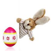 Huevo de pascua en una cesta con conejito de juguete — Foto de Stock