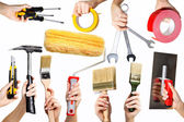 Hands with tools — Stock Photo