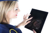 Stewardess with tablet — Stock Photo