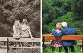 Photo of the couple in their youth and old age — Stock Photo